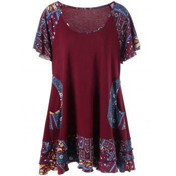 Plus Size Raglan Sleeve Layered Top with Pockets - DEEP RED DEEP RED