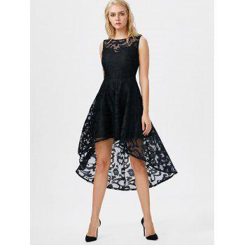 Lace High Low Swing Evening Party Dress - BLACK S