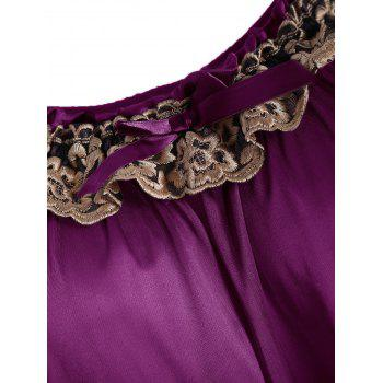 Embroidered Cap Sleeve Babydoll - PURPLISH RED M