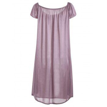 Embroidered Cap Sleeve Babydoll - LIGHT PURPLE XL