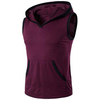 Hooded Sleeveless Pocket T-Shirt - WINE RED WINE RED