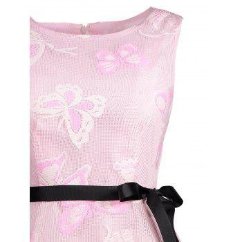 Plus Size Butterfly Jacquard A Line Short Formal Dress - LIGHT PINK 5XL