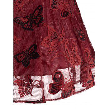 Plus Size Butterfly Jacquard A Line Short Formal Dress - RED 2XL