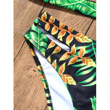 Plunge Strappy Bikini with Tropical Printed - GREEN XL