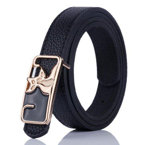 Artificial Leather Metal Double Foxes Buckle Belt - BLACK