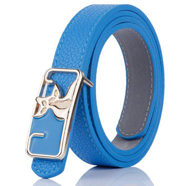 Artificial Leather Metal Double Foxes Buckle Belt - BLUE