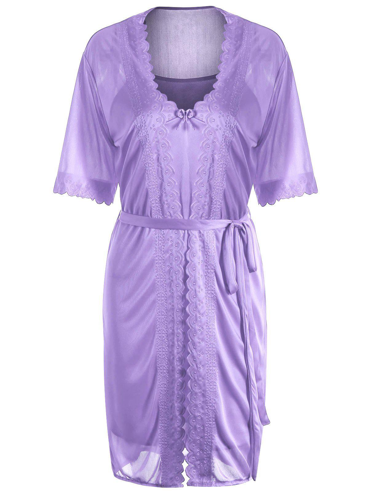Scalloped Robe with Cami Babydoll - LIGHT PURPLE ONE SIZE