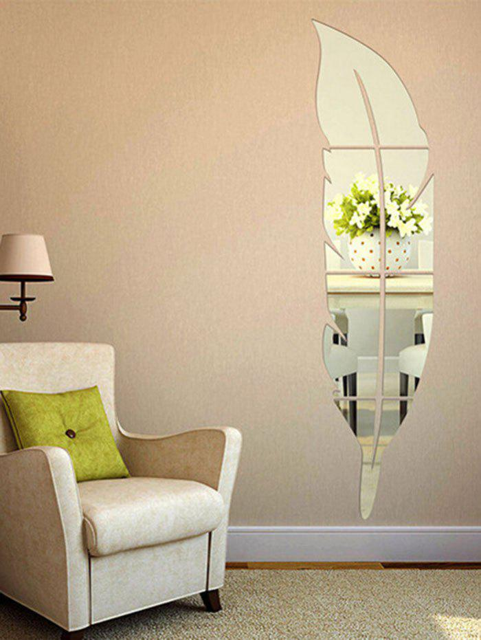 Feather Shaped Home Decor Mirror Wall Sticker SILVER CM CM In - Wall decals mirror