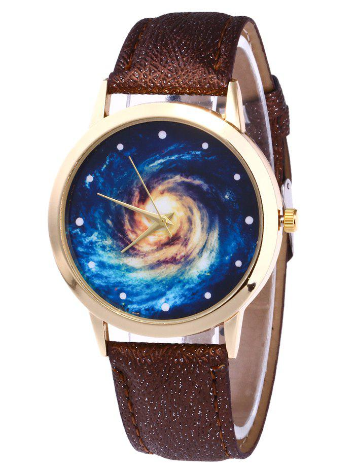 Faux Leather Vortex Starry Watch - BROWN