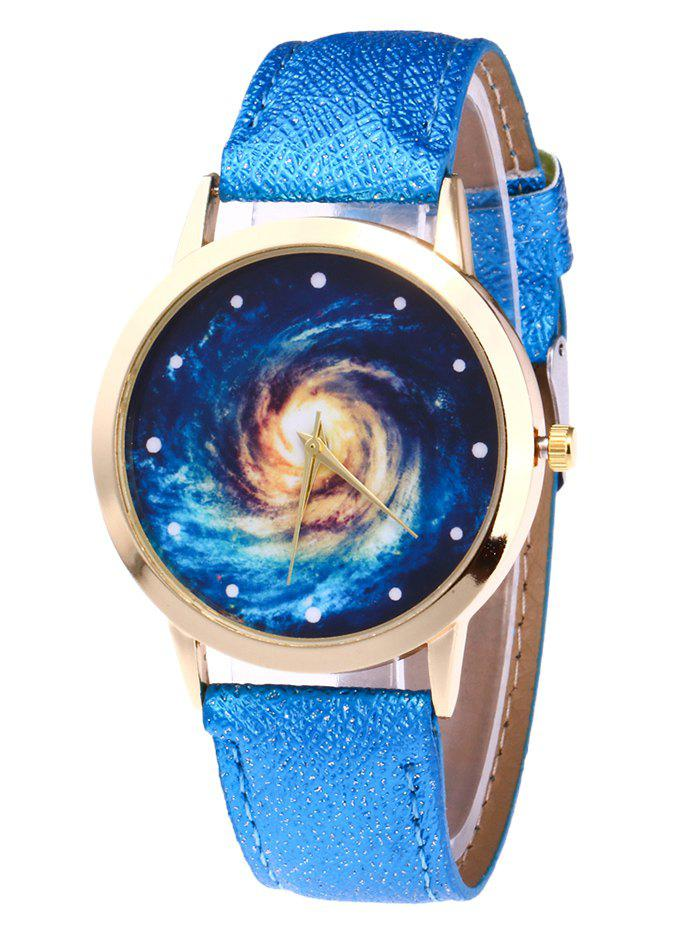 Faux Leather Vortex Starry Watch - BLUE
