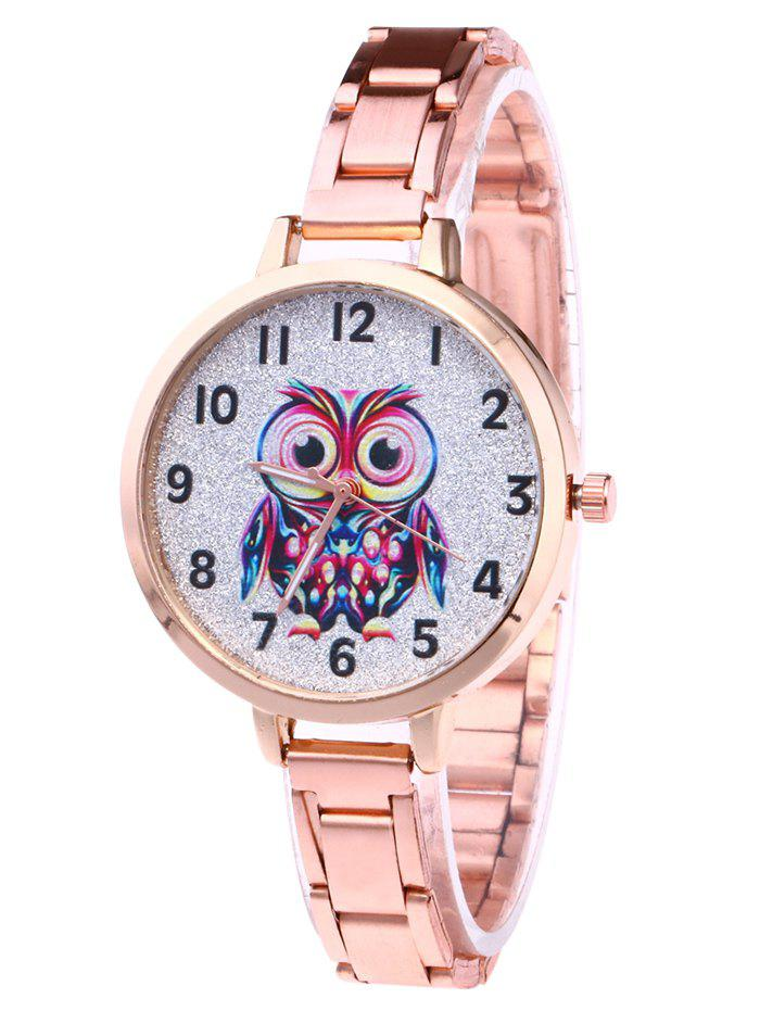 Alloy Number Owl Glitter Watch - ROSE GOLD
