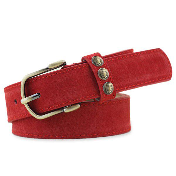 Retro Rivet Embellished Faux Suede Belt - RED