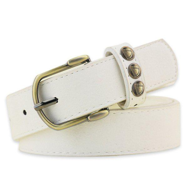 Retro Rivet Embellished Faux Suede Belt - WHITE