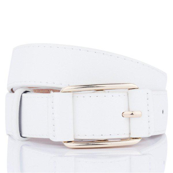 Faux Leather Plain Pin Buckle Belt - WHITE