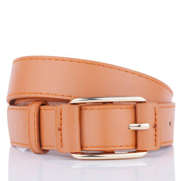Faux Leather Plain Pin Buckle Belt - CAMEL