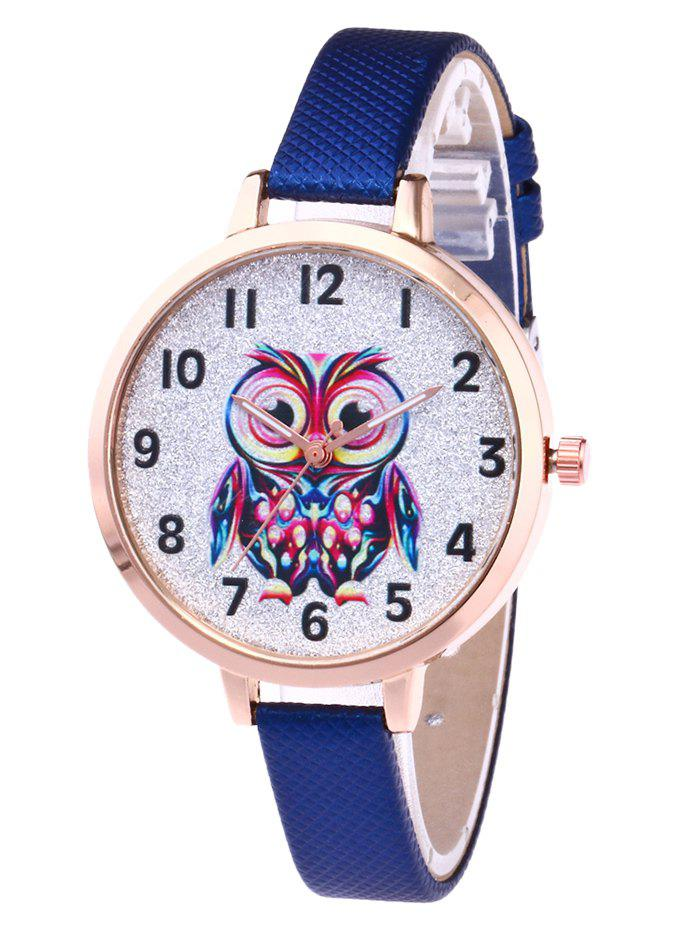 Faux Leather Owl Glitter Watch - ROYAL