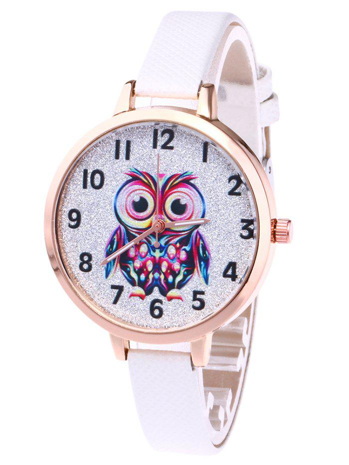 Faux Leather Owl Glitter Watch - WHITE
