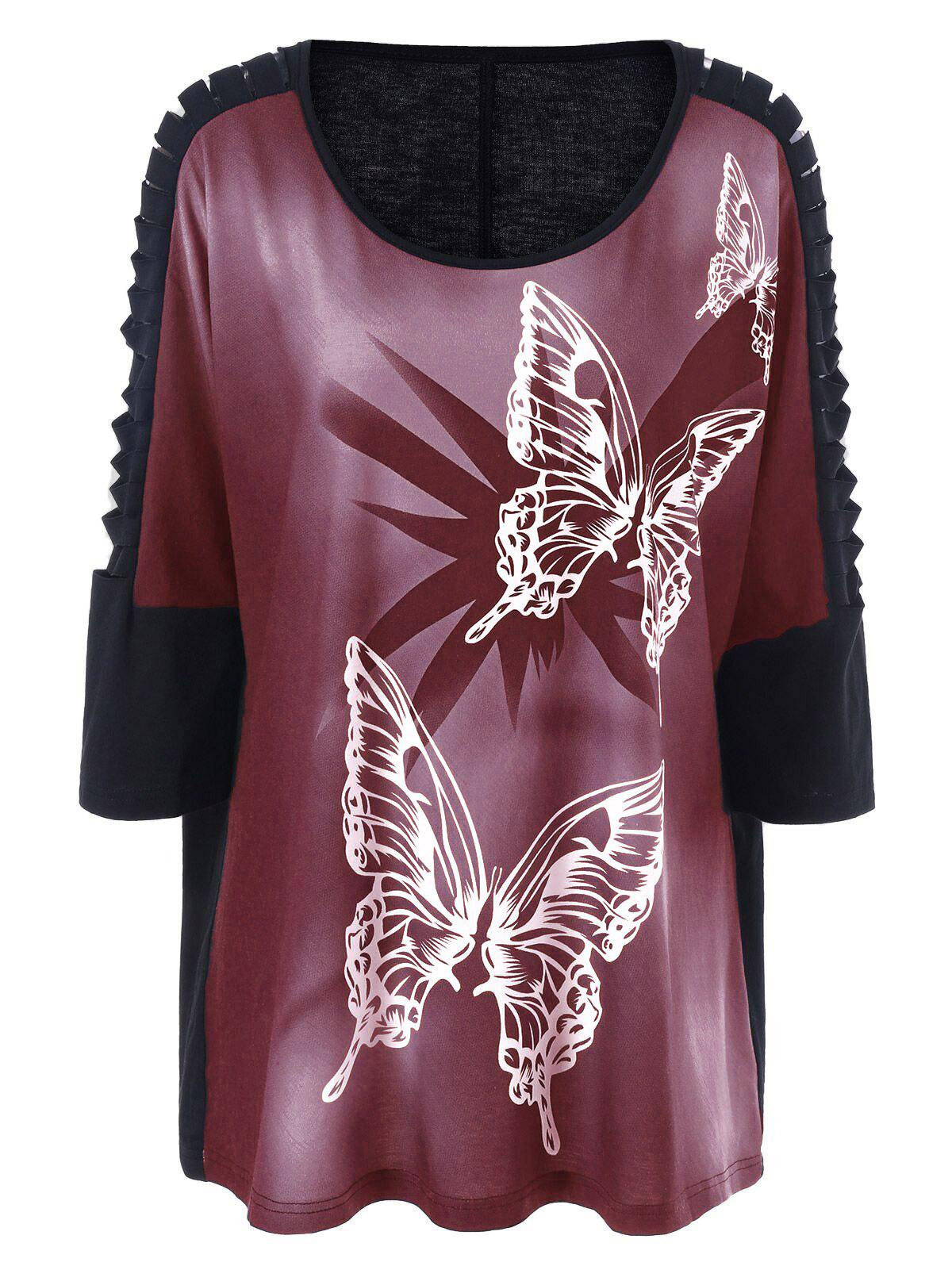 Plus Size Butterfly Print Ripped Long T-Shirt - BRICK RED XL