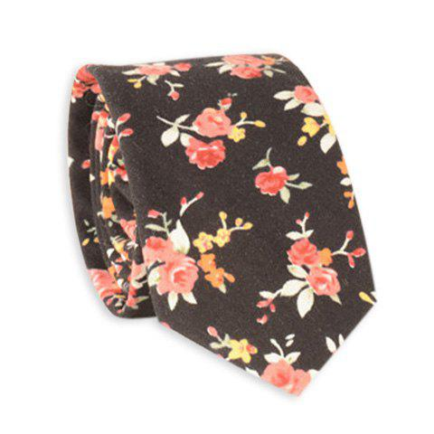 Retro Rose Blossom Printed Neck Tie - BLACK