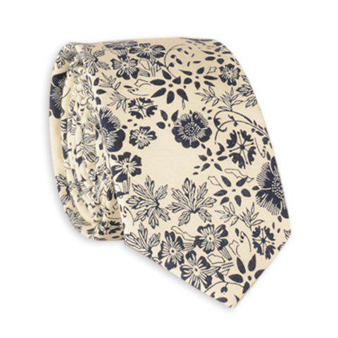 Sketch Floral Printing Neck Tie - OFF WHITE