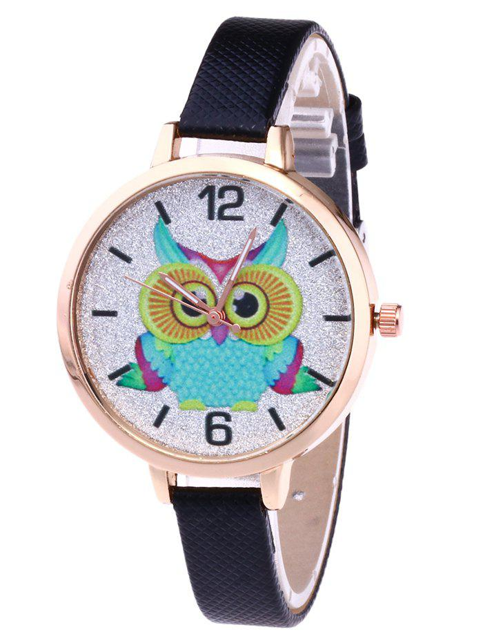 Owl Faux Leather Glitter Watch faux leather glitter ombre watch