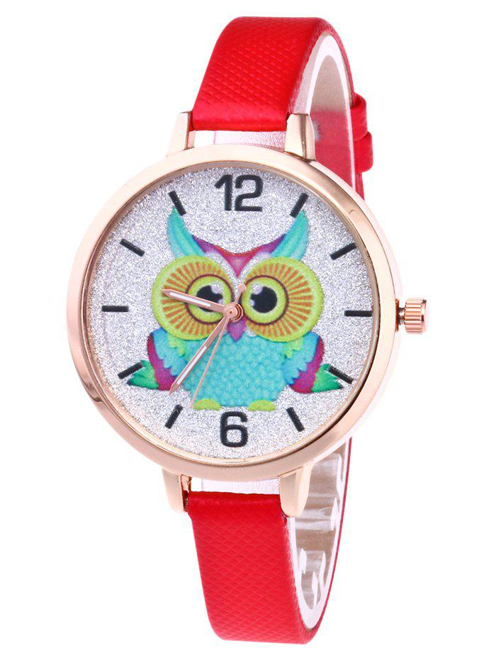 Owl Faux Leather Glitter Watch - RED