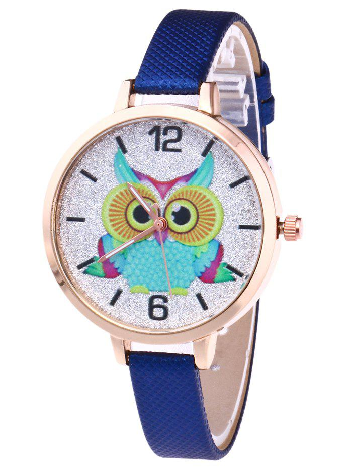Owl Faux Leather Glitter Watch - ROYAL