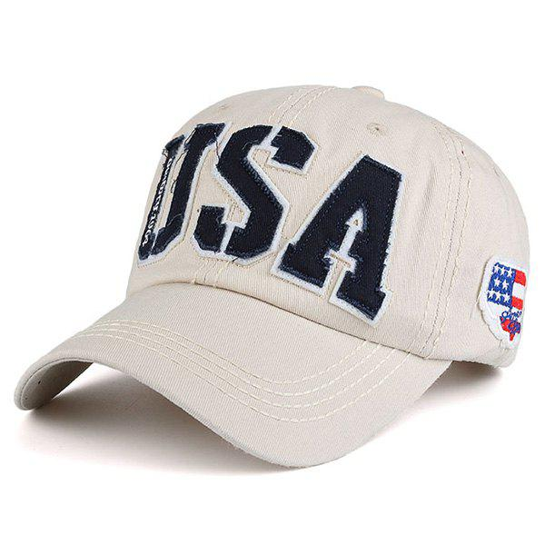 USA Letters Flag Baseball Hat - CANDY BEIGE