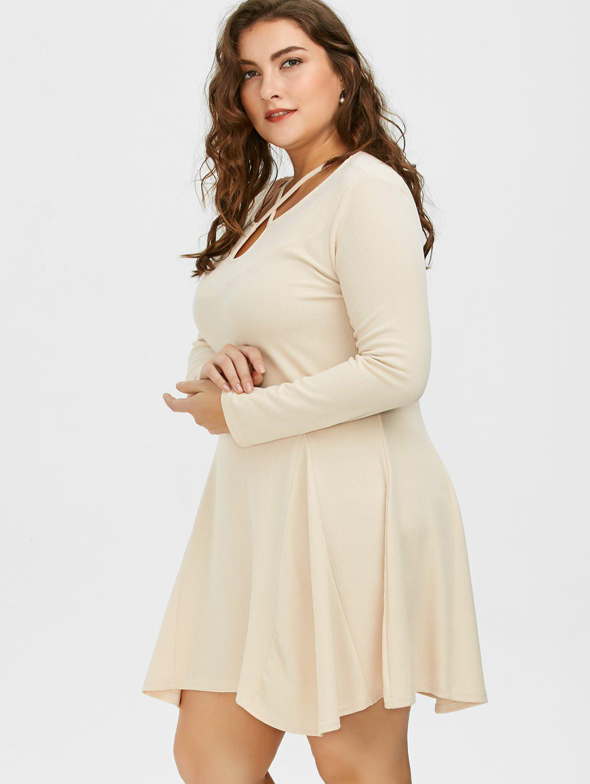 Cutout Plus Size Skater Dress with Long Sleeves - LIGHT KHAKI 4XL