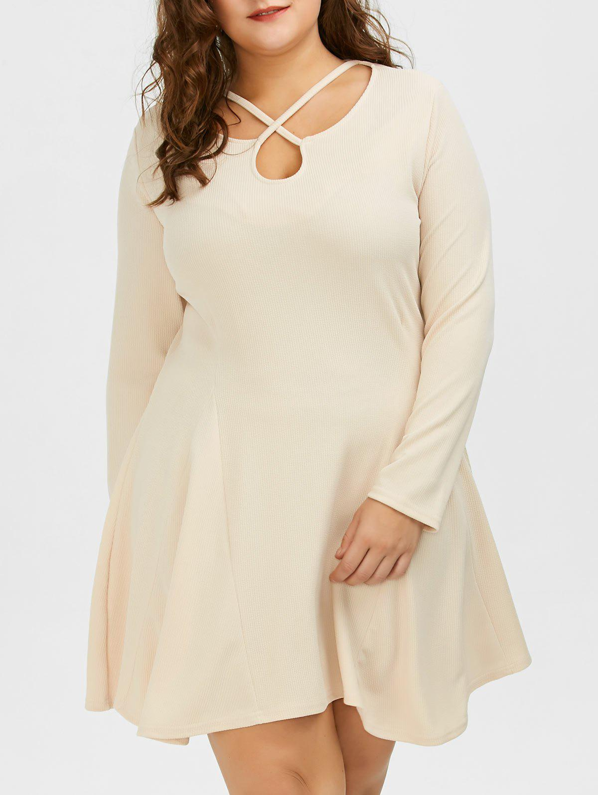 Cutout Plus Size Skater Dress with Long Sleeves - LIGHT KHAKI 3XL