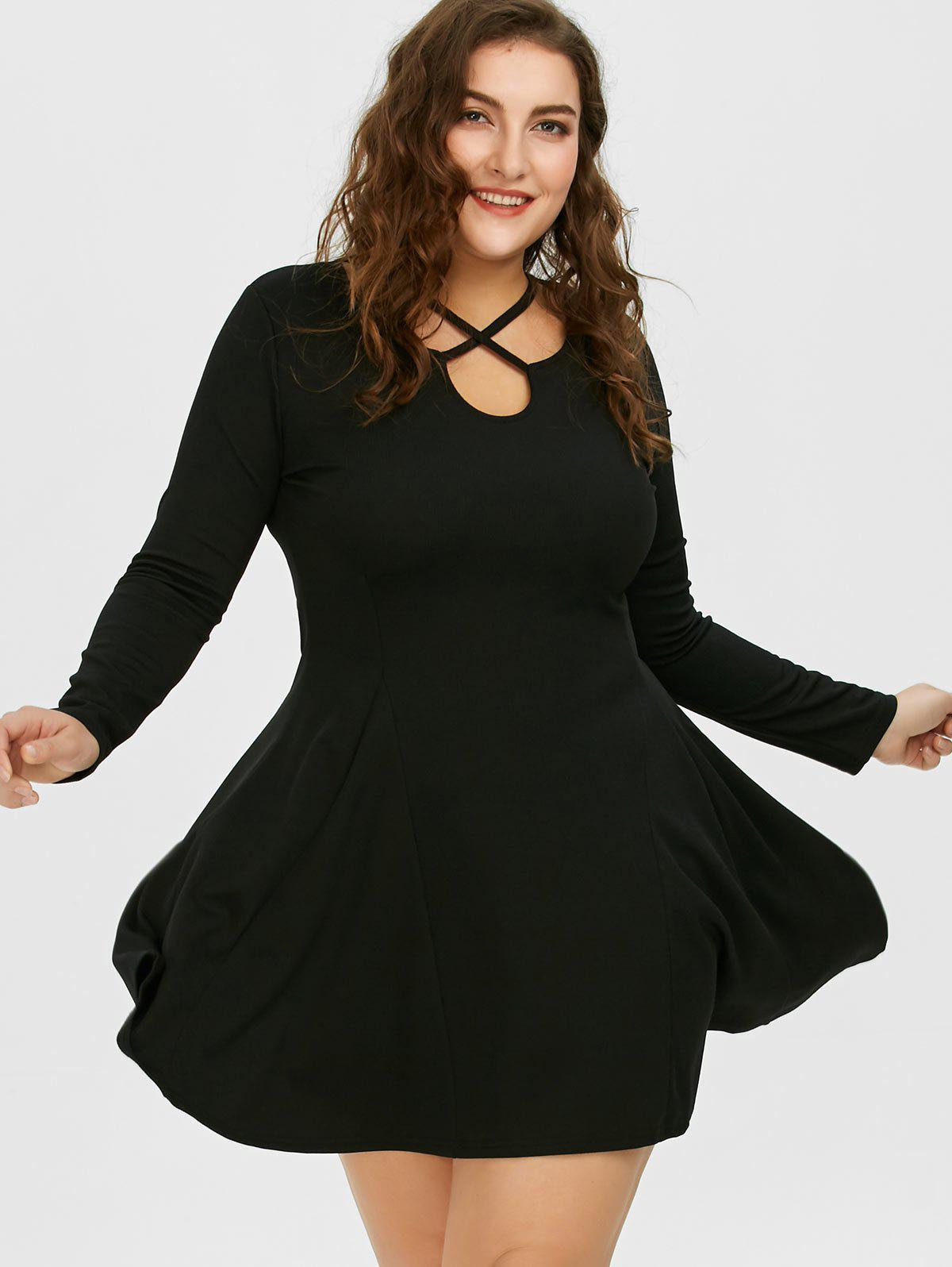 2018 cutout plus size skater dress with long sleeves black xl in