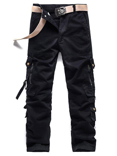 Zipper Pockets Design Buckle Embellished Cargo Pants - BLACK 36