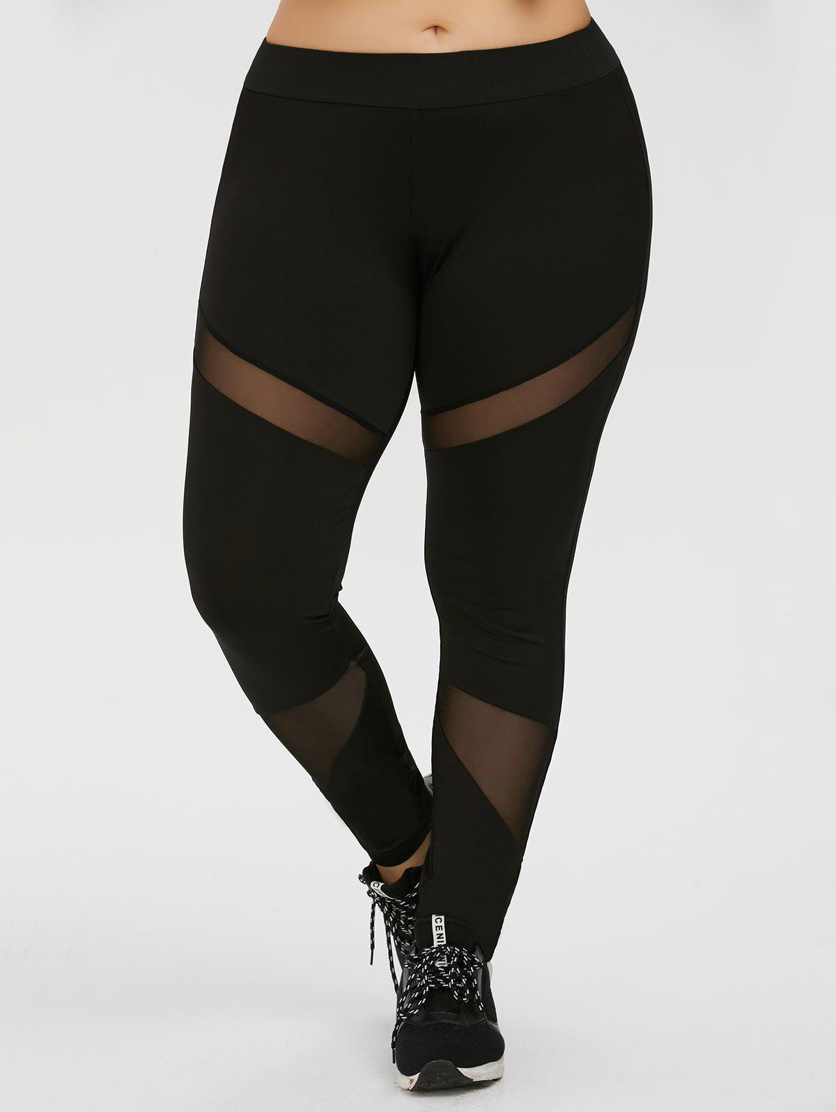 Plus Size Mesh Panel Workout Leggings sheer plus size mesh panel workout leggings