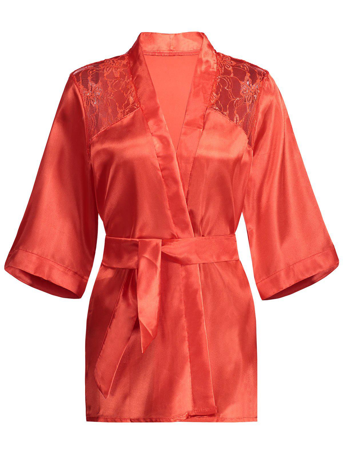 Lace Panel Sommeil Wrap Robe - Rouge S
