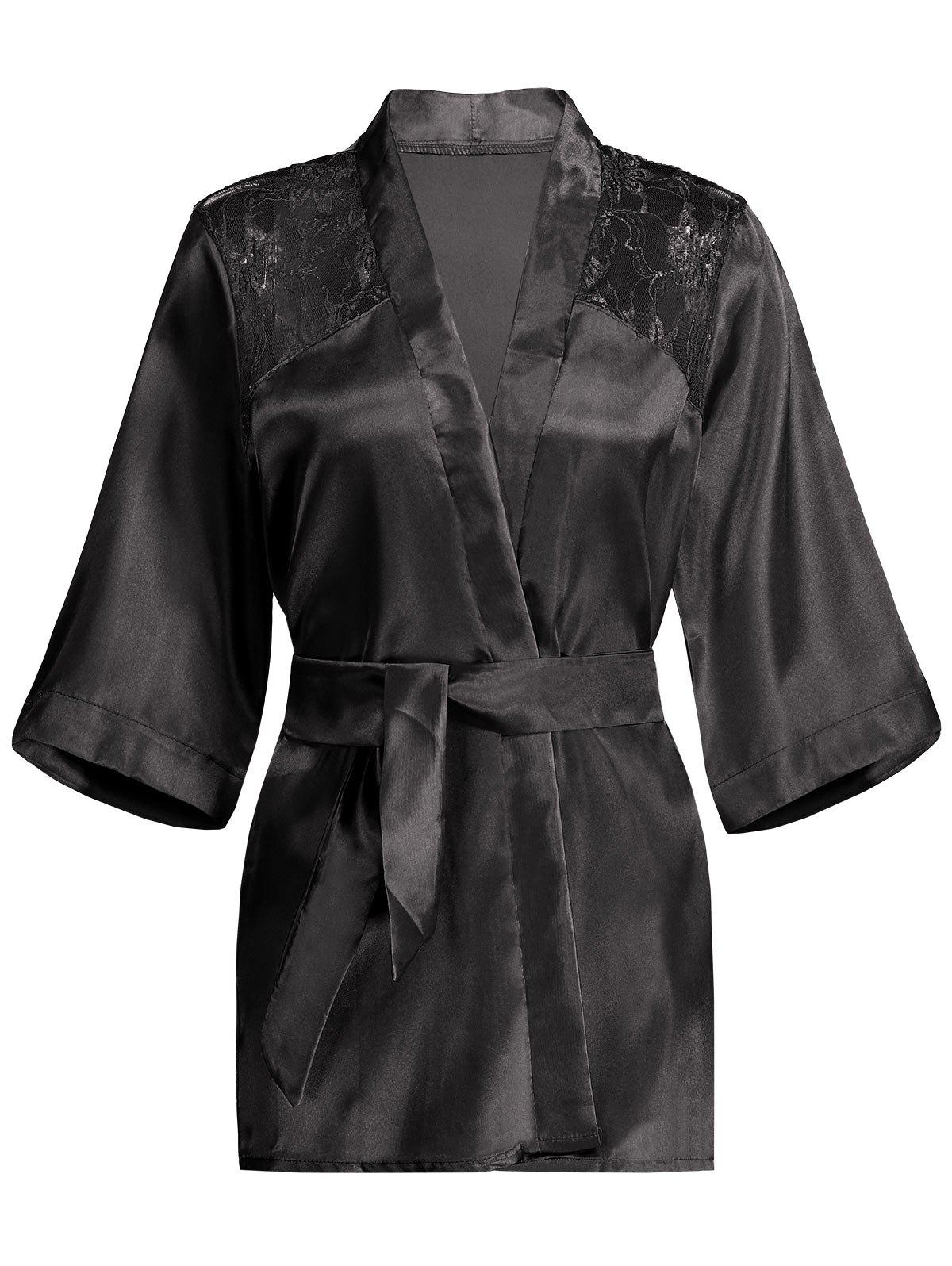 Lace Panel Sommeil Wrap Robe - [