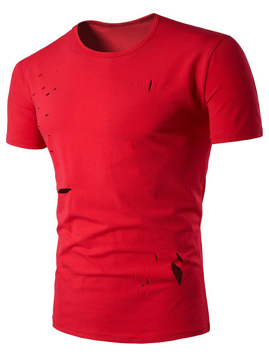 Ras du cou irrégulier Distressed Design T-shirt - Rouge XL
