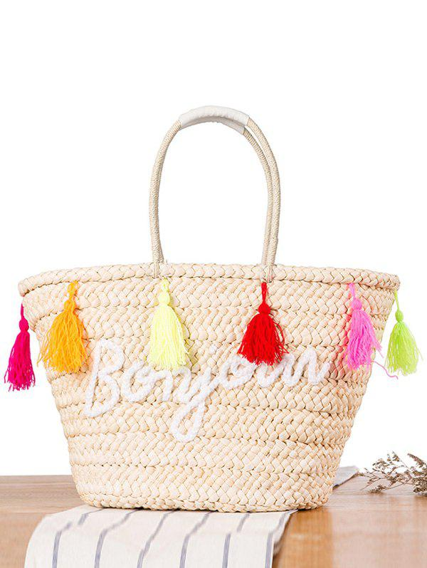 Bonjour Straw Colored Tassels Shoulder Bag - OFF WHITE