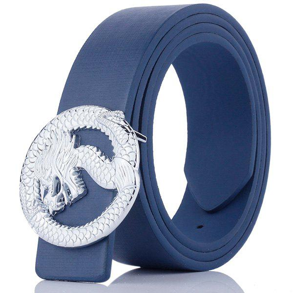 Dragon Shape Covered Buckle Wide Belt - BLUE