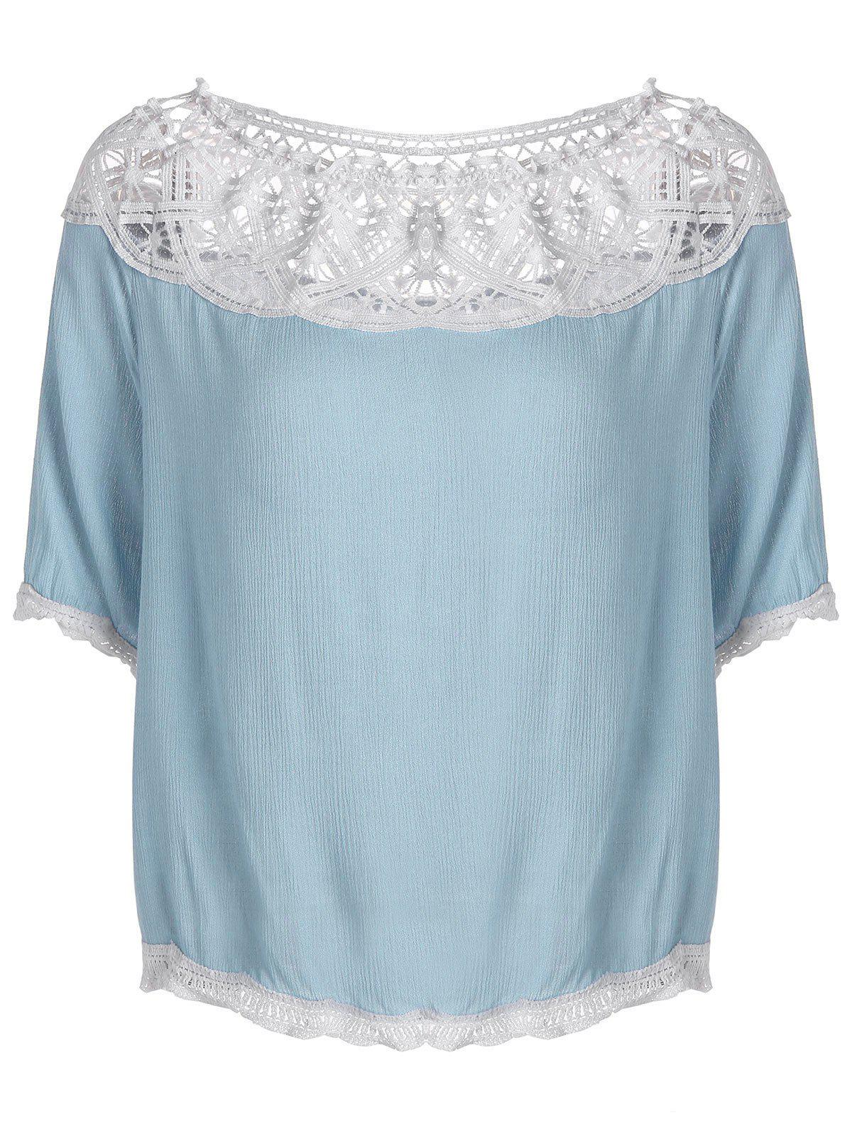 Off The Shoulder Lace Openwork Blosue - CLOUDY M