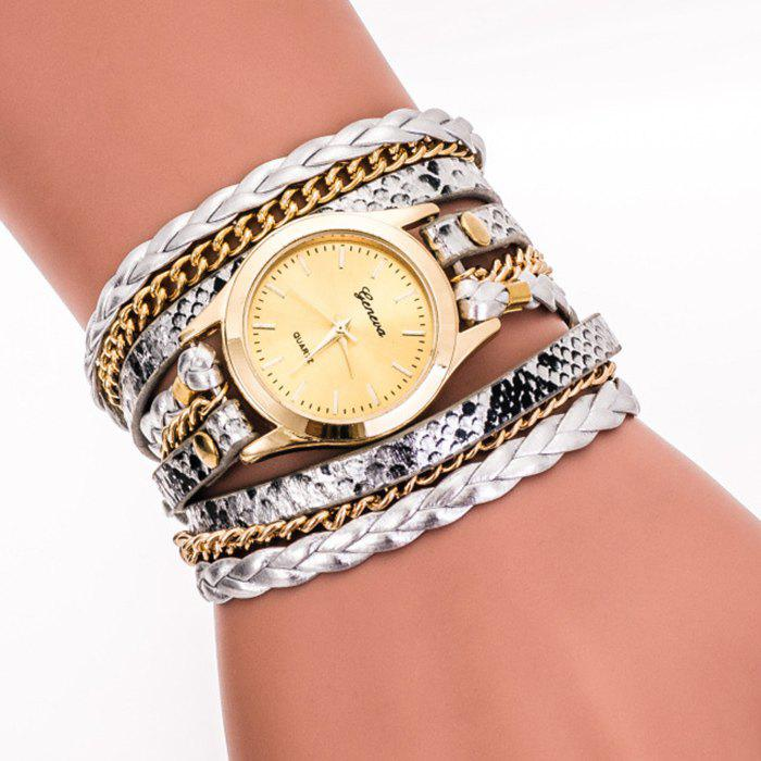 Analog Wrap Bracelet Watch - SILVER