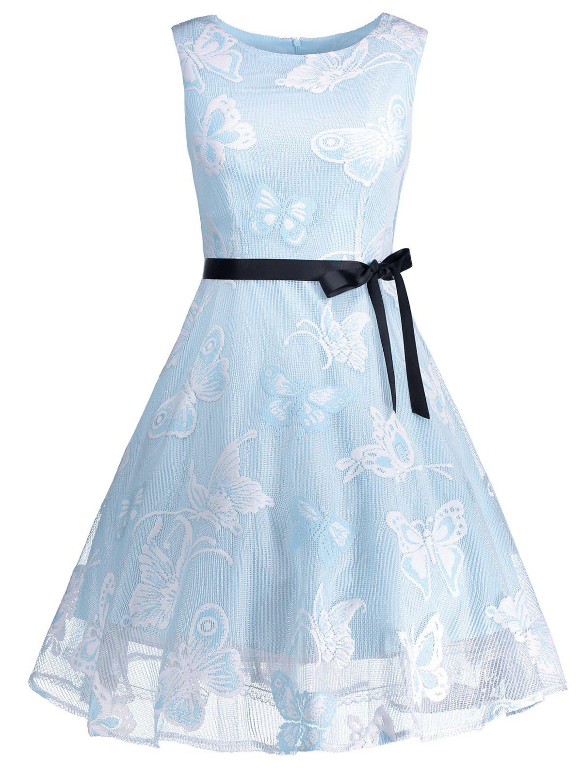 Plus Size Butterfly Jacquard A Line Short Formal Dress - LIGHT BLUE 3XL