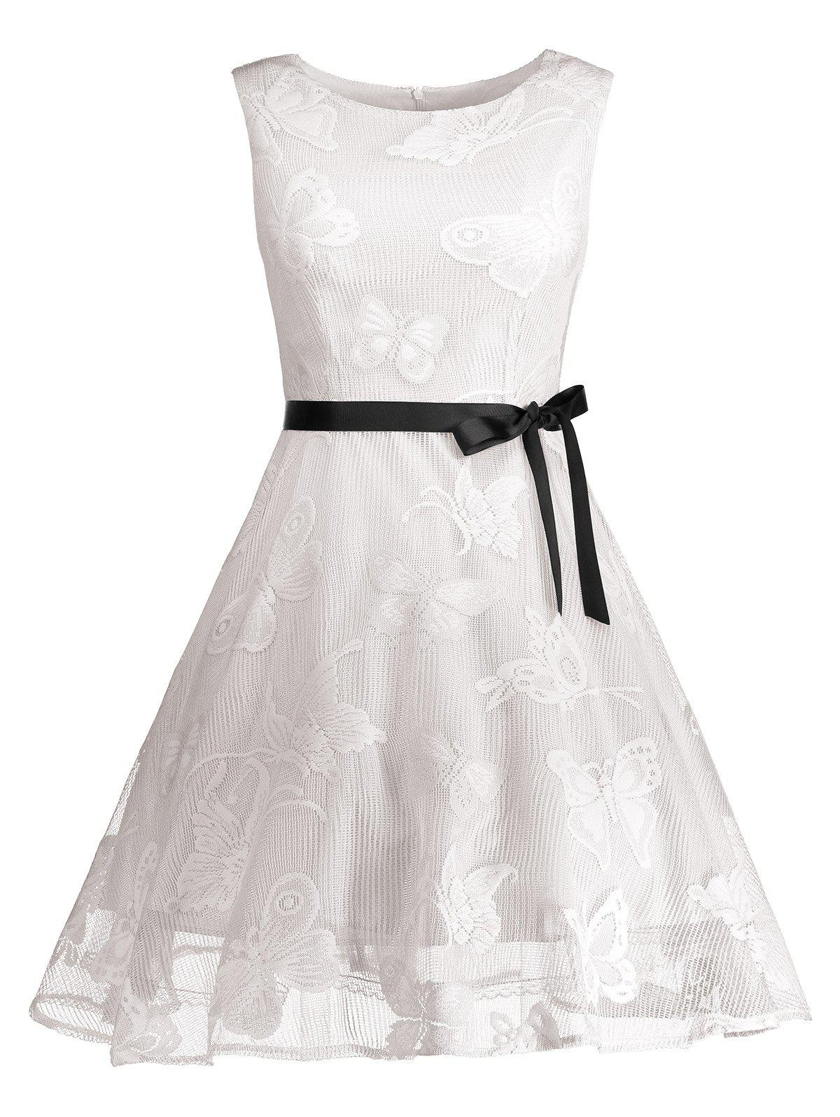 Plus Size Butterfly Jacquard A Line Short Formal Dress - WHITE XL