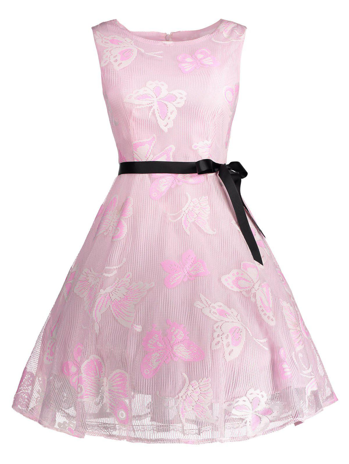 Plus Size Butterfly Jacquard A Line Short Formal Dress - LIGHT PINK 4XL
