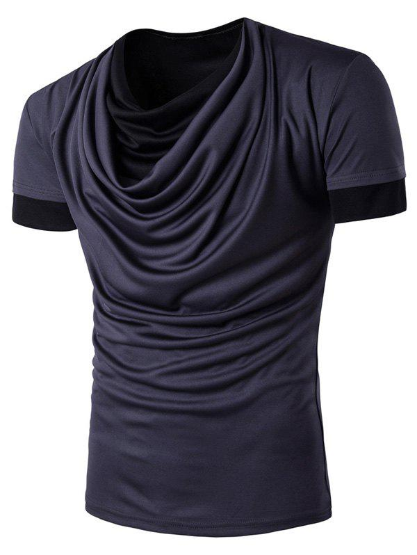 Couleur Panel Bloc Faux Twinset Cowl Neck T-Shirt - Gris XL