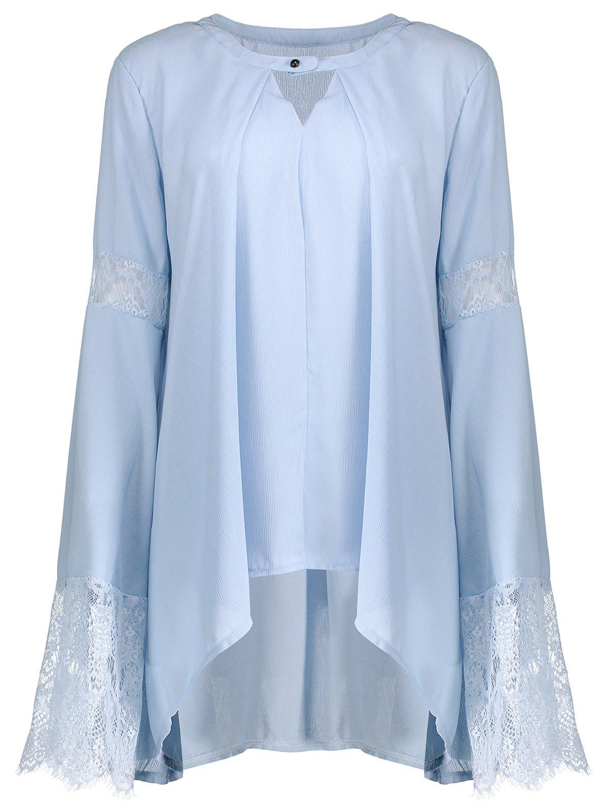 Flare Sleeve Chiffon Blouse with Lace Trim - BLUE XL