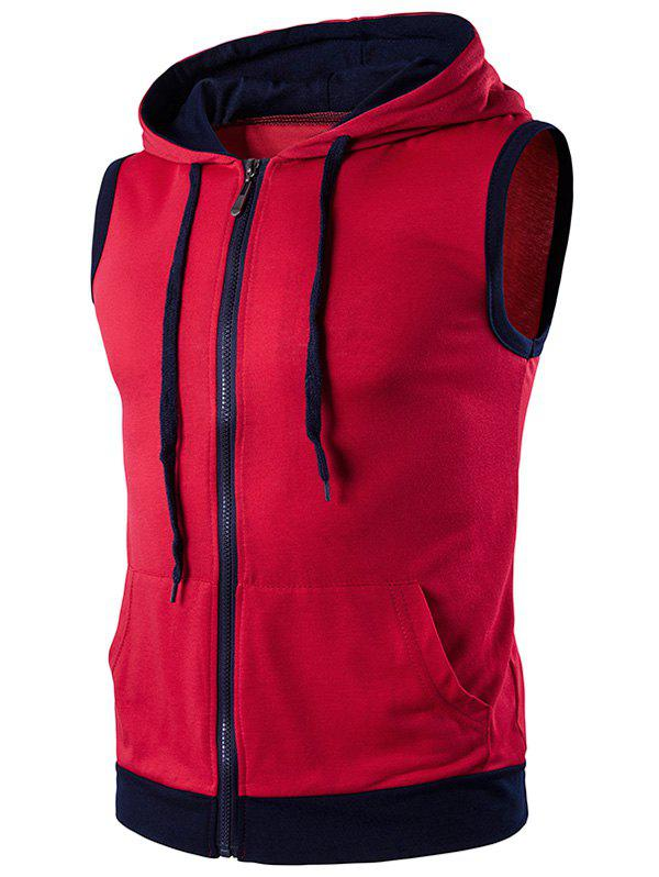 Zip Up Tank Top capuche - Rouge S