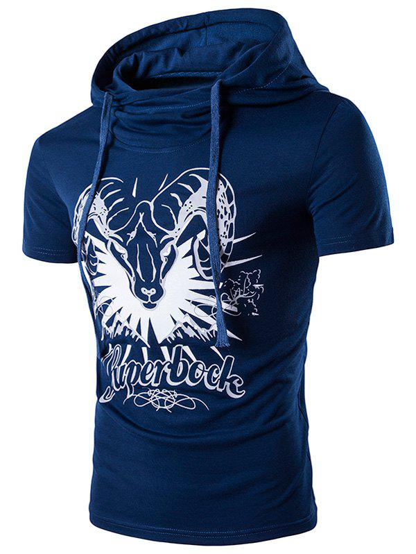 Sheep Head Printed Hooded T-Shirt - BLUE XL