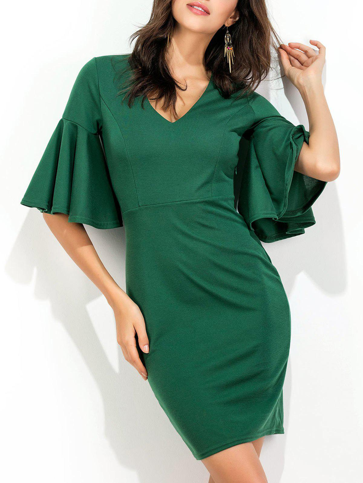 Flare Sleeve V Neck Work Robe Bodycon - Vert XL