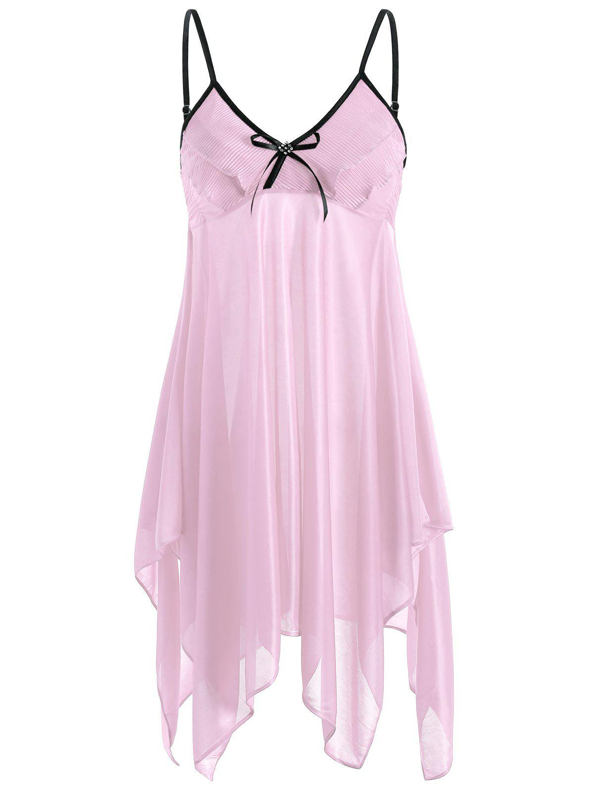 Handkerchief Ruffles Cami Babydoll - PINK ONE SIZE