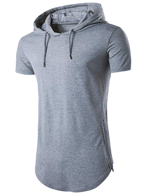 Hooded Hem Side Zip Up T-Shirt - LIGHT GRAY M